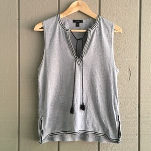 J. Crew - Tasseled Tank with Embroidered Trim